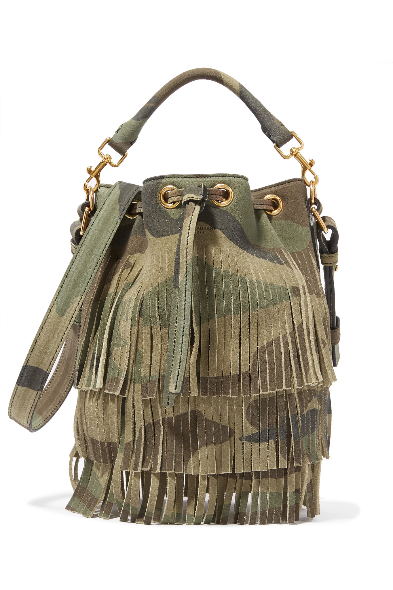 ysl clutch sale - Saint laurent Emmanuelle Camouflage-Print Leather Bucket Bag in ...