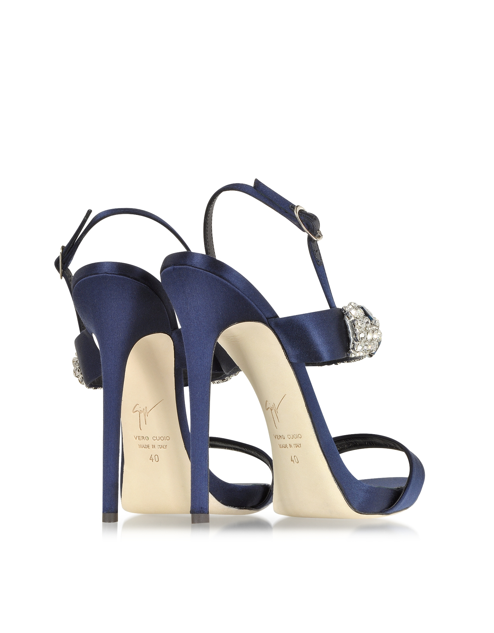 01a3593db7fb Lyst - Giuseppe Zanotti Navy Satin   Crystal High Heel Sandal in Blue