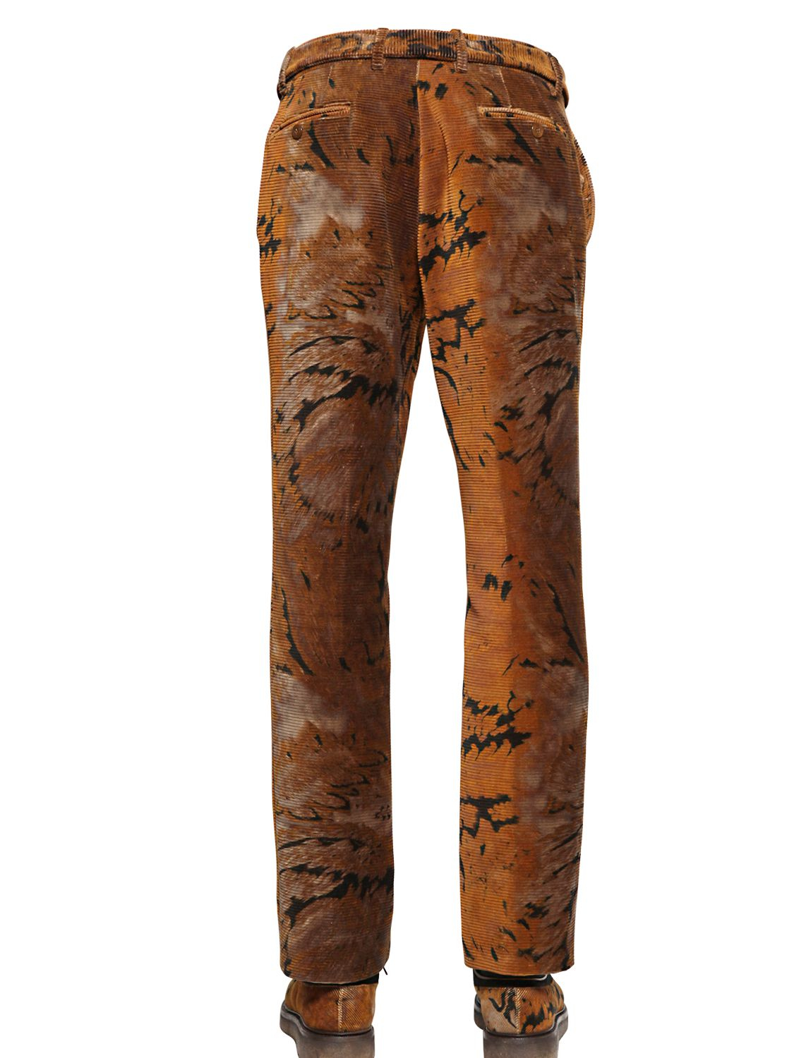 Etro Paisley Printed Cotton Corduroy Pants in Brown for Men | Lyst