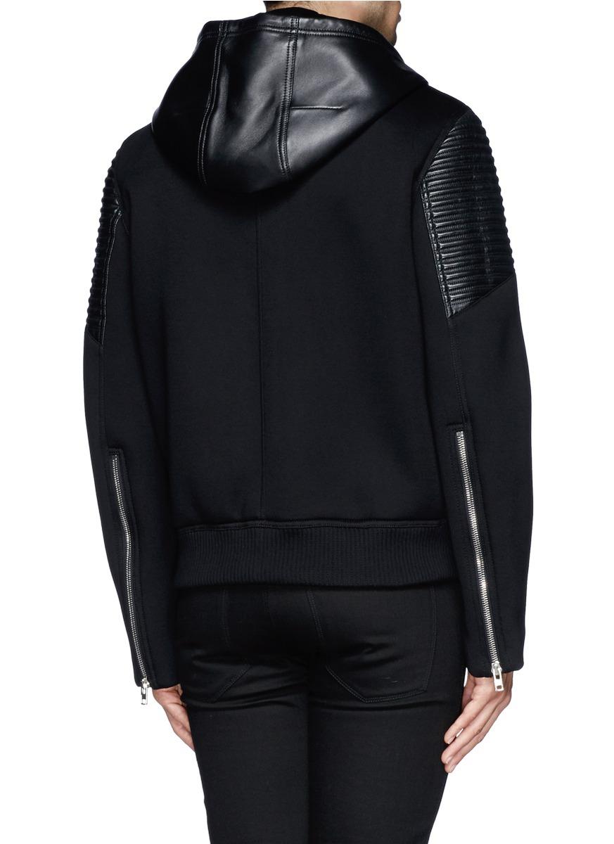 Givenchy Tonal Stripe Leather Sweatshirt Jacket In Black