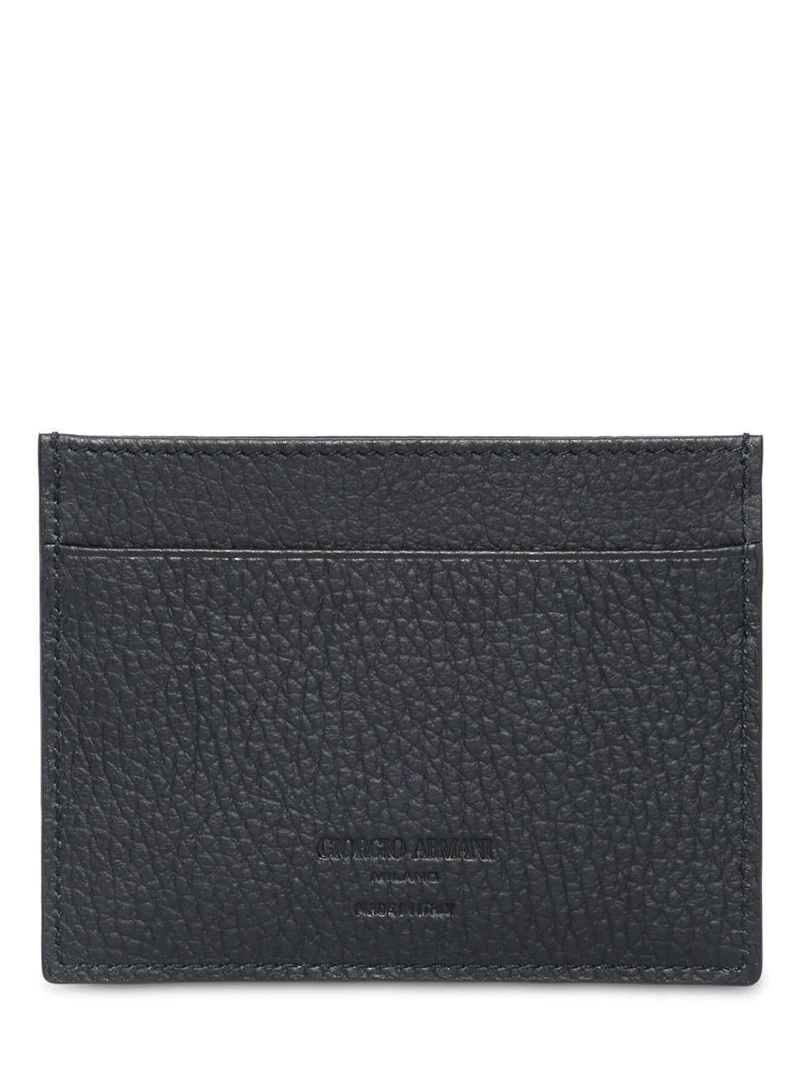 61446860bd Giorgio Armani Hammered Leather Credit Card Holder in Black for Men ...