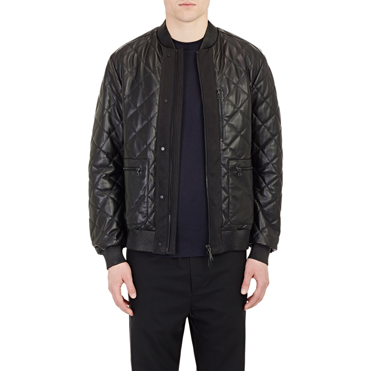 Oamc Quilted Leather Bomber Jacket in Black for Men | Lyst
