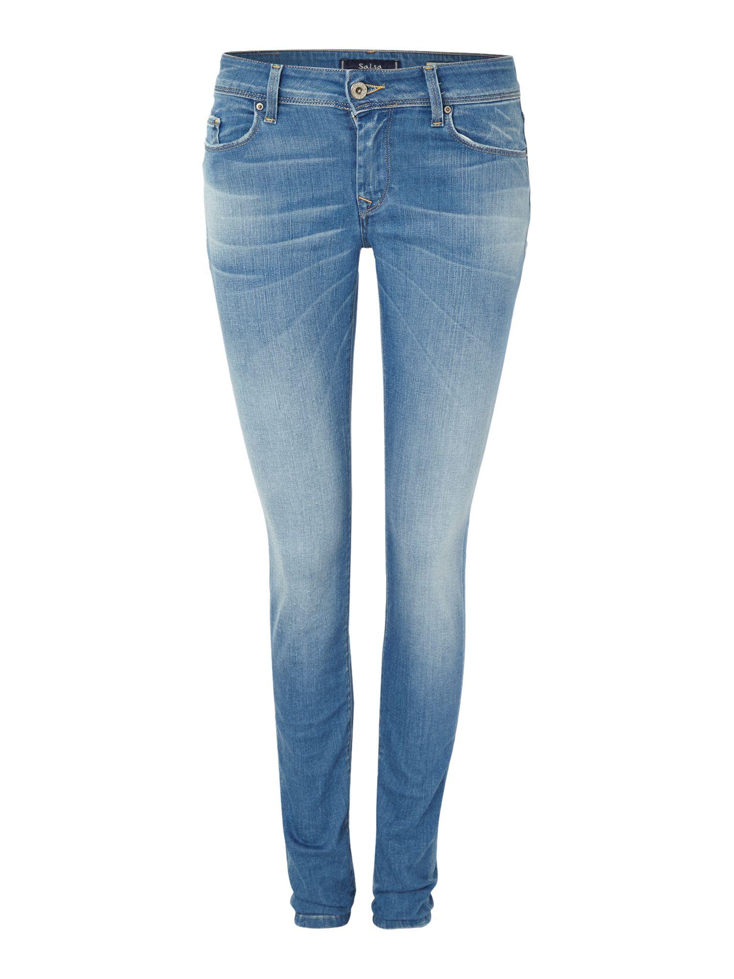 lyst salsa colette comfort skinny jean in light wash in blue. Black Bedroom Furniture Sets. Home Design Ideas