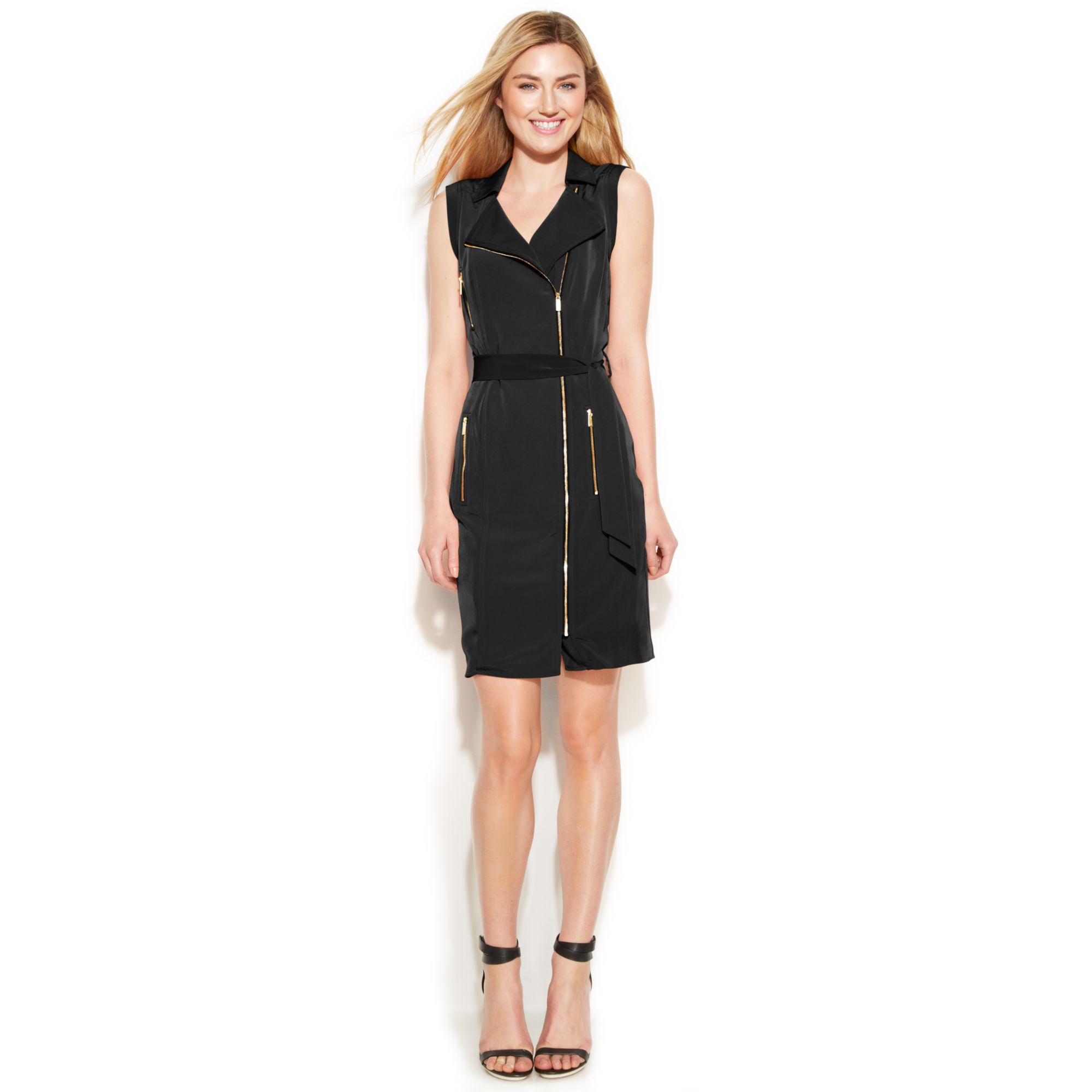 4959073b Calvin Klein Sleeveless Belted Moto Dress in Black - Lyst
