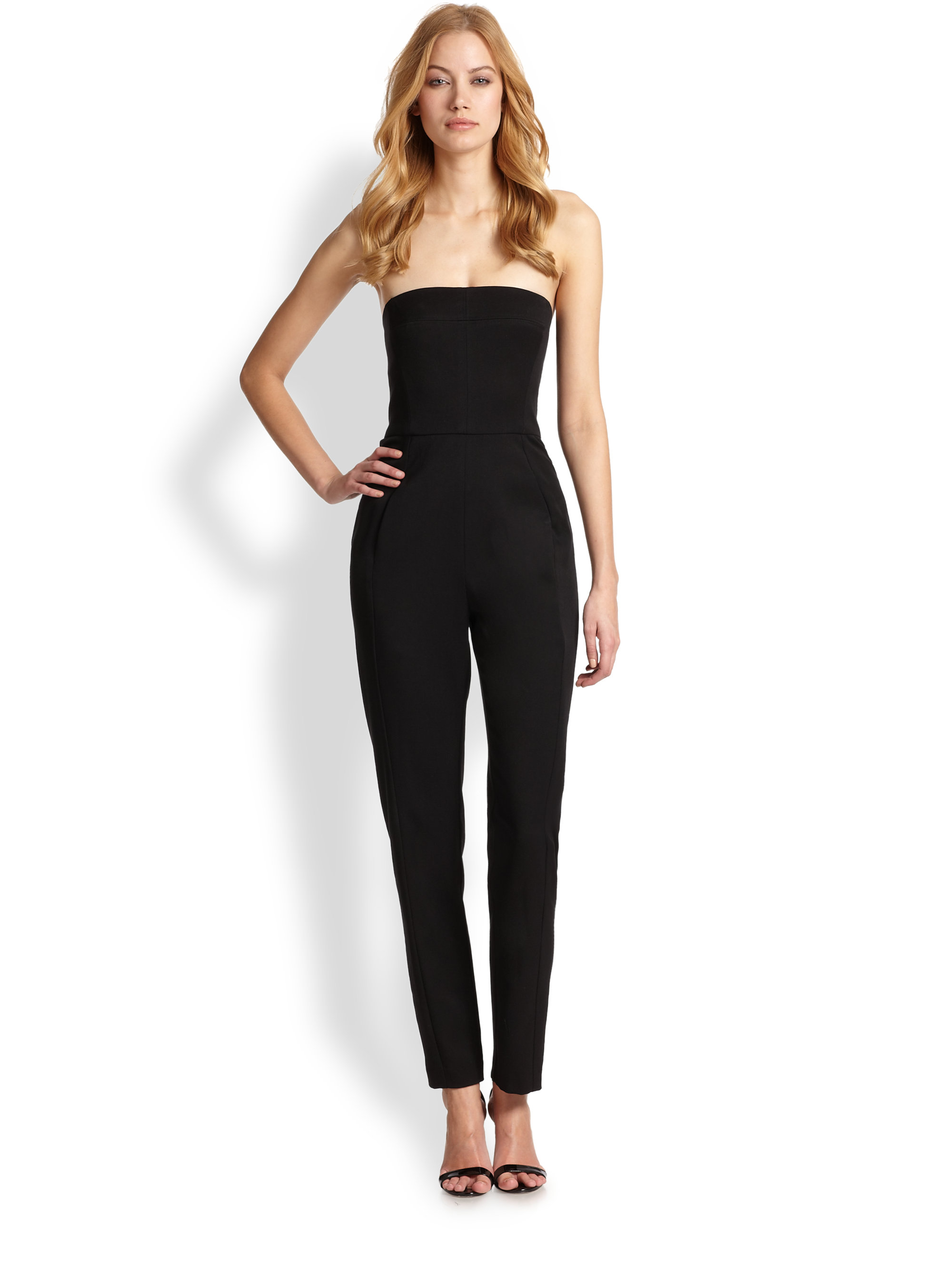 Lyst - Black Halo Iris Strapless Jumpsuit in Black