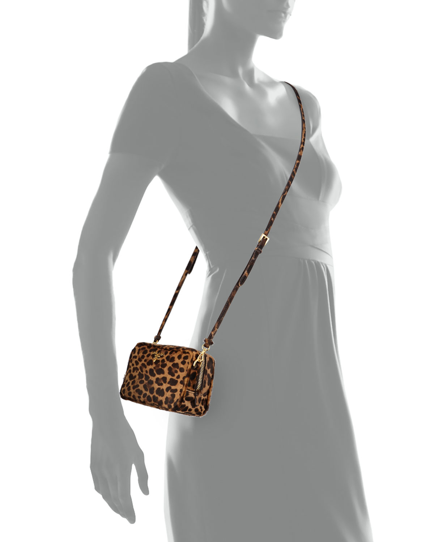 8c5a3ce97ebe Lyst - Prada Leopard-print Calf Hair Mini Crossbody Bag