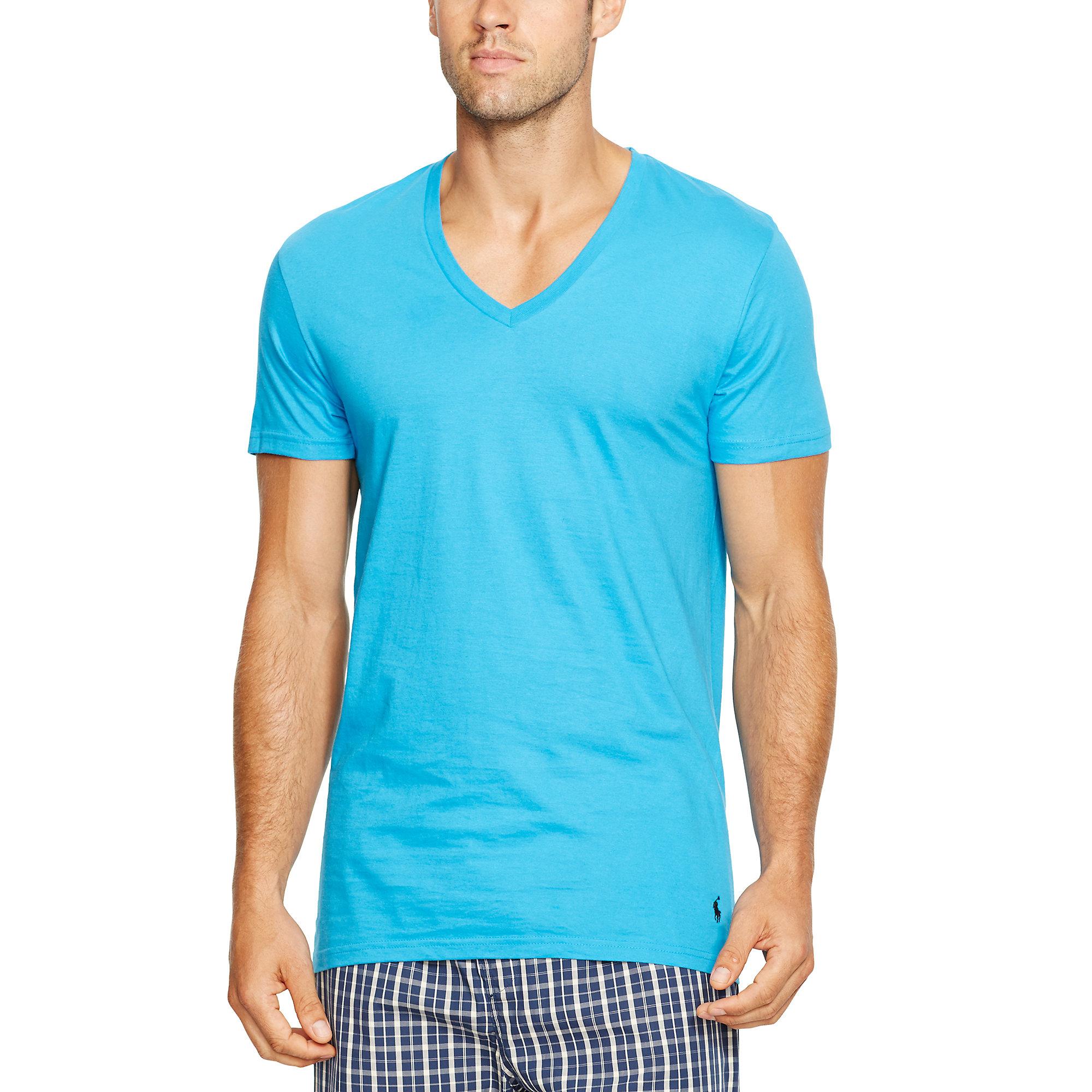 polo ralph lauren cotton v neck t shirt 3 pack in blue for men lyst. Black Bedroom Furniture Sets. Home Design Ideas