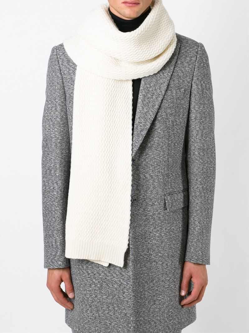 ami textured knit scarf in white for lyst