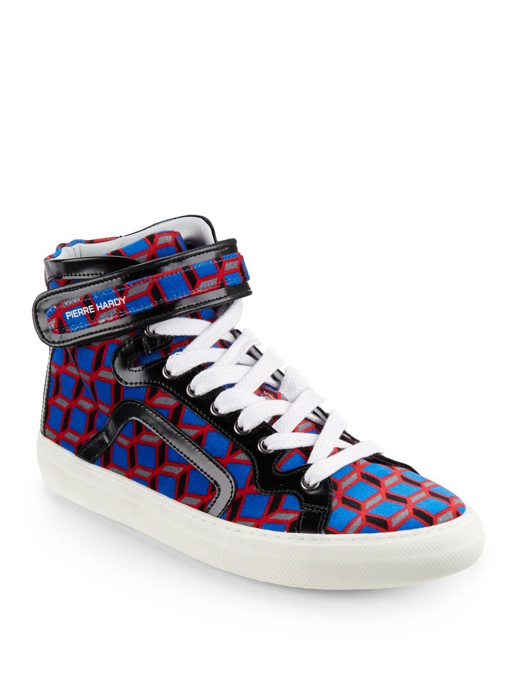 pierre hardy geometricprint denim hightop sneakers in blue for men red black lyst. Black Bedroom Furniture Sets. Home Design Ideas