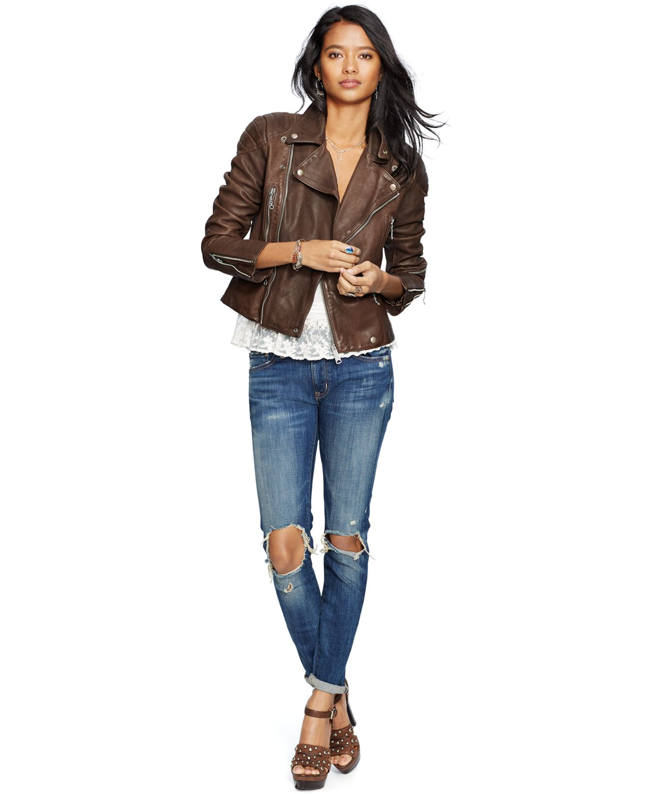 Denim & supply ralph lauren Leather Motorcycle Jacket in Brown | Lyst