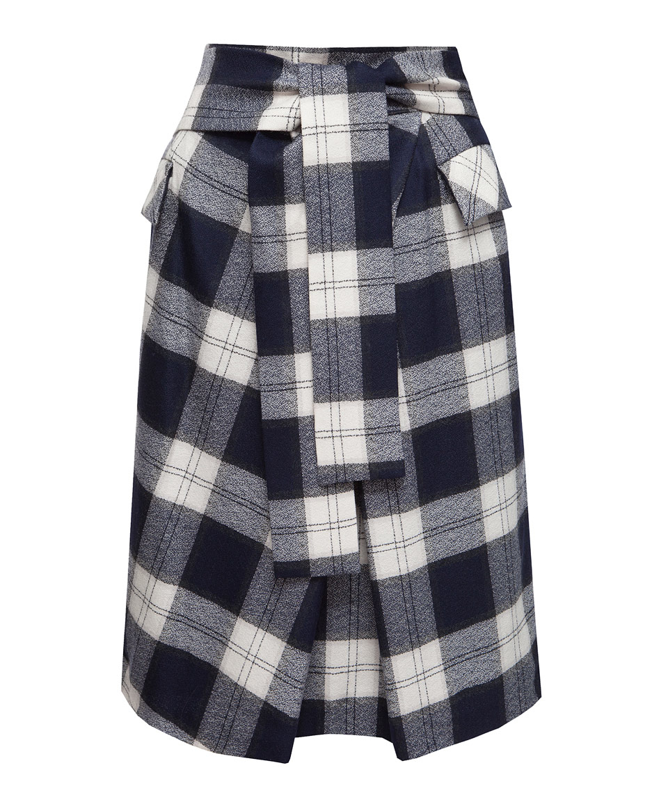 tomorrowland navy amunzen tartan belted wool skirt in blue