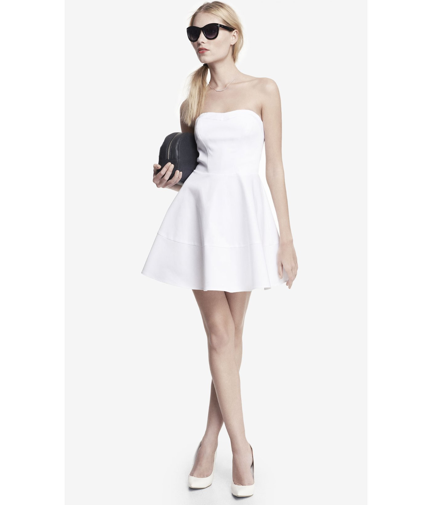 0e974486f5fc5 Express Strapless Cotton Sateen Fit And Flare Dress in White - Lyst