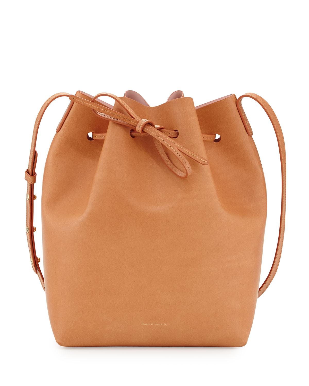 mansur gavriel coated leather bucket bag in brown camel. Black Bedroom Furniture Sets. Home Design Ideas