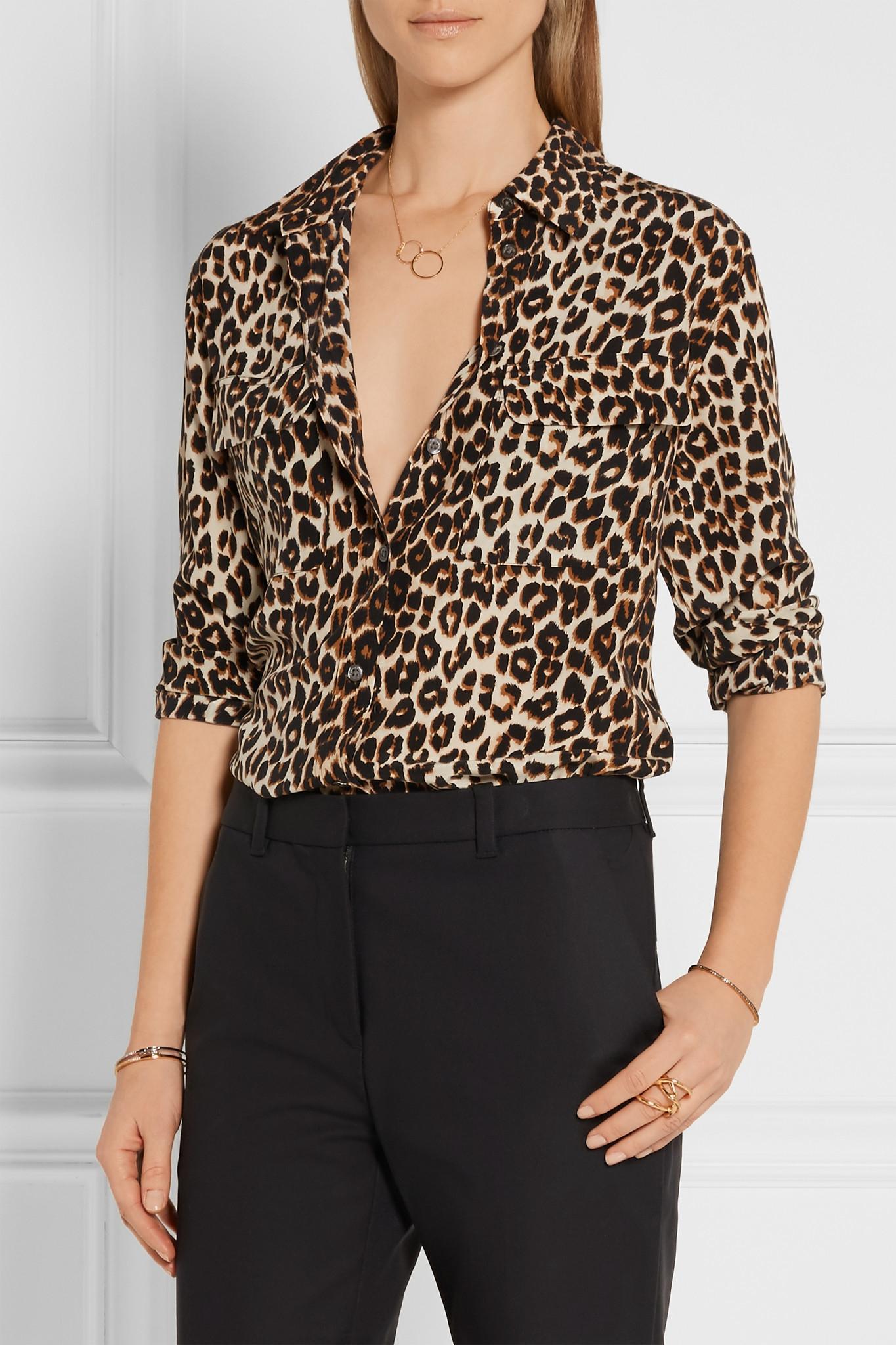 7b1d1523d358 Lyst - Equipment Signature Leopard-print Washed-silk Shirt in Black