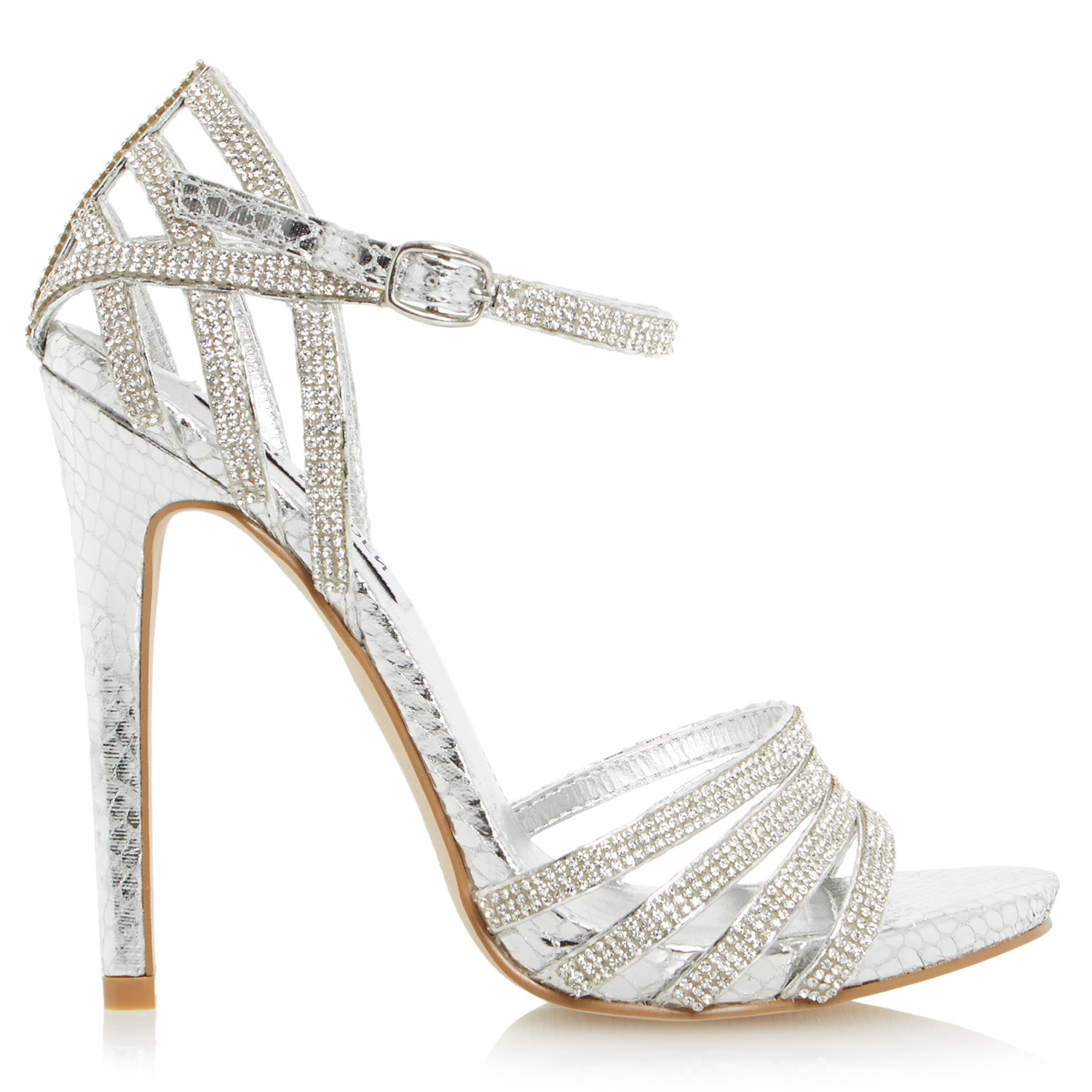 High Heel Silver Sandals - Qu Heel