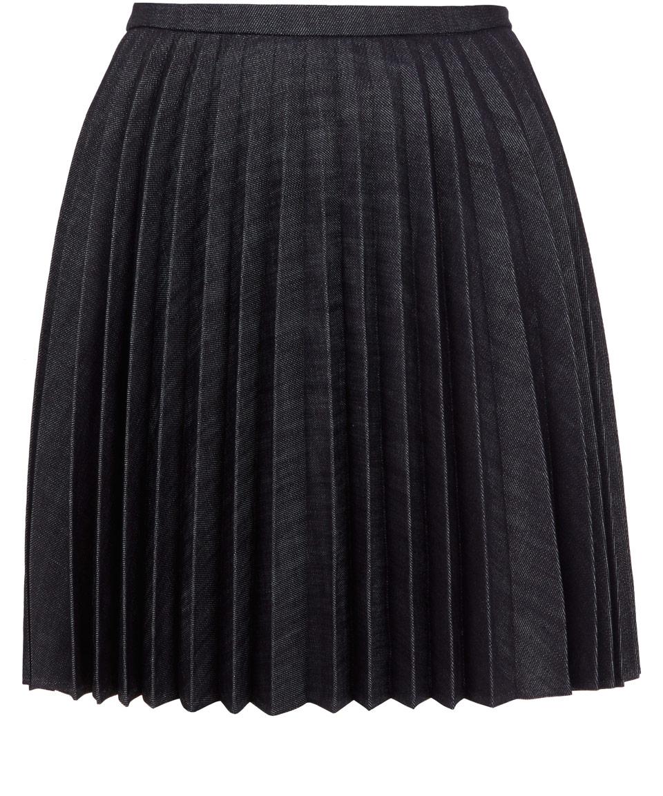 j w pleated denim mini skirt in blue indigo lyst