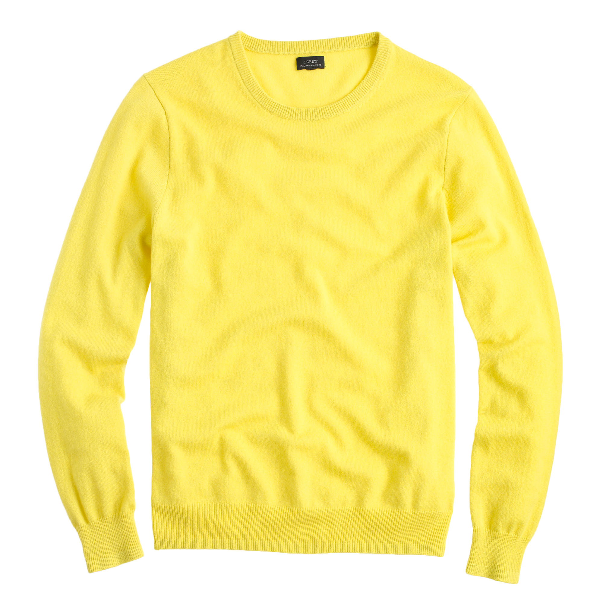 J.crew Italian Cashmere Crewneck Sweater in Yellow for Men | Lyst