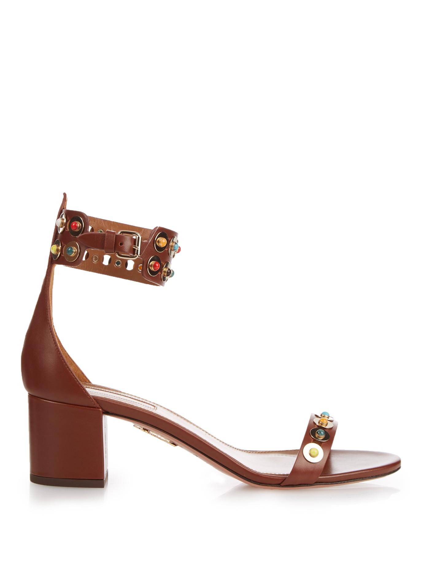 508a6a4f1 Lyst - Aquazzura Byzantine Embellished Leather Sandals in Brown