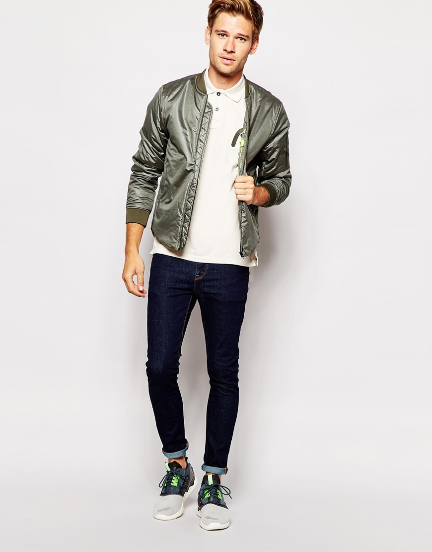 Replay Jacket Lightweight Bomber in Green for Men | Lyst