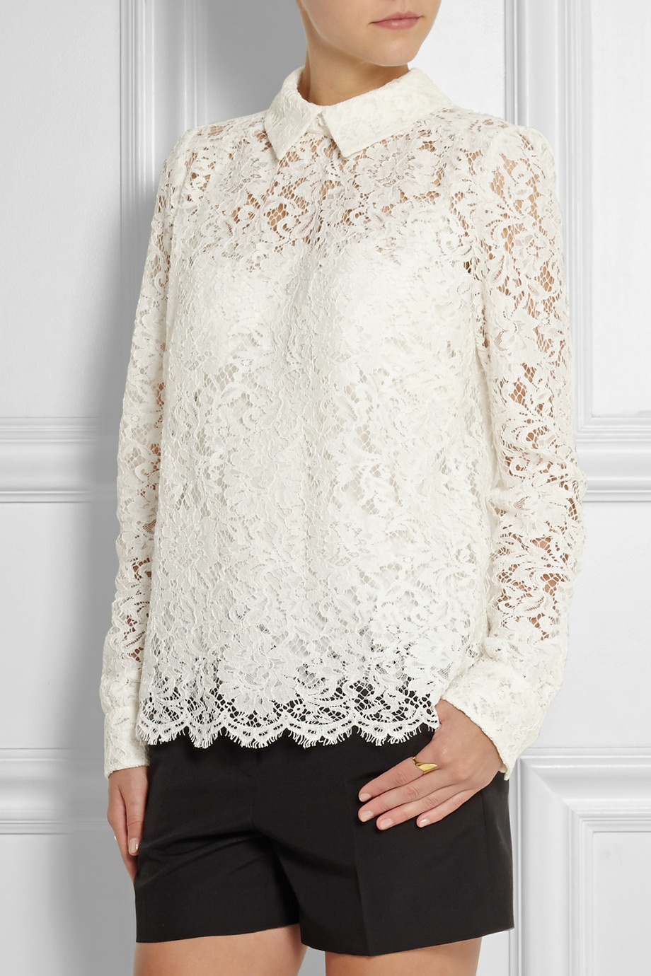 Lyst - Dolce & Gabbana Lace Top in White