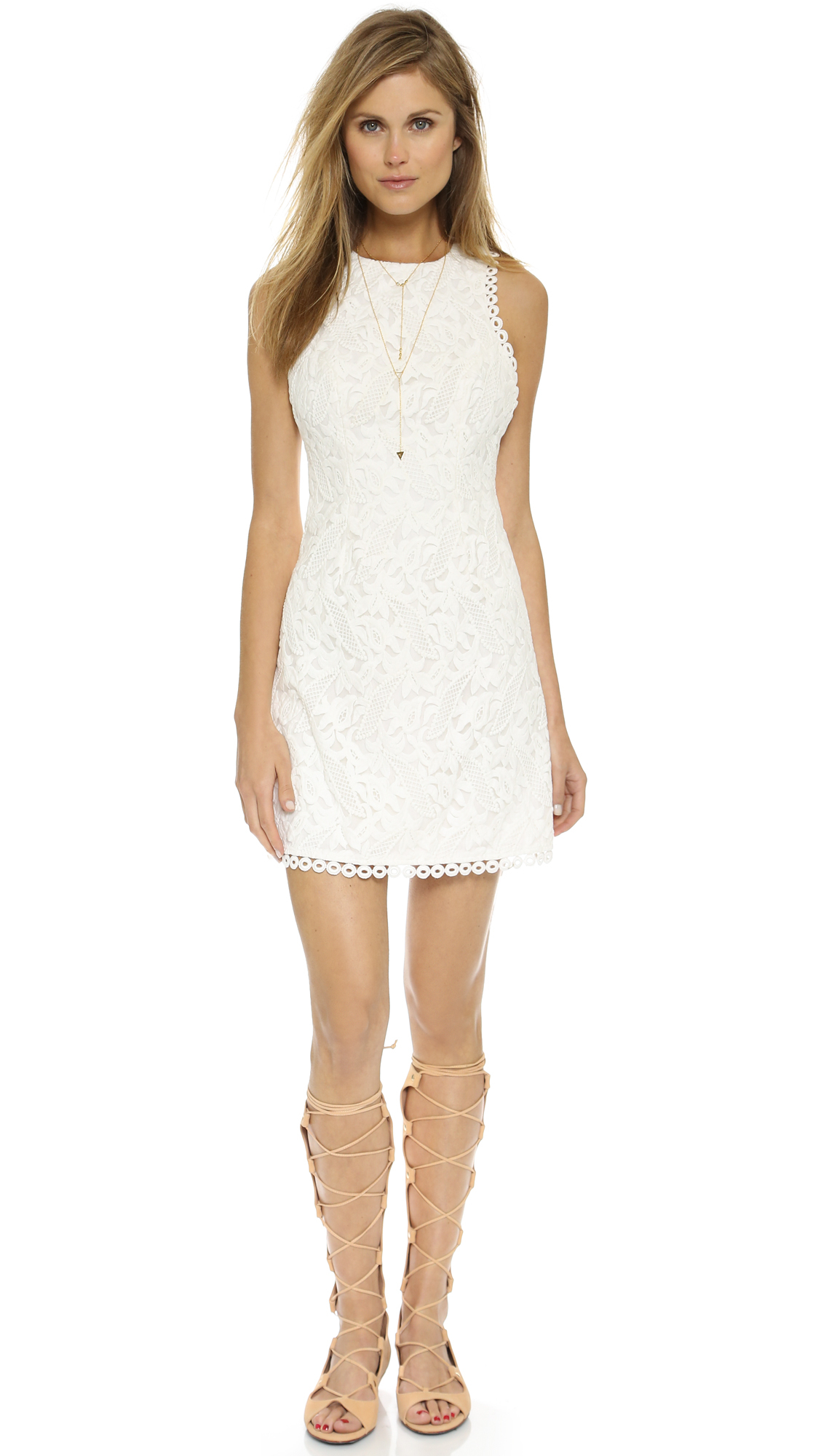 Cynthia rowley embroidered mini dress white in lyst
