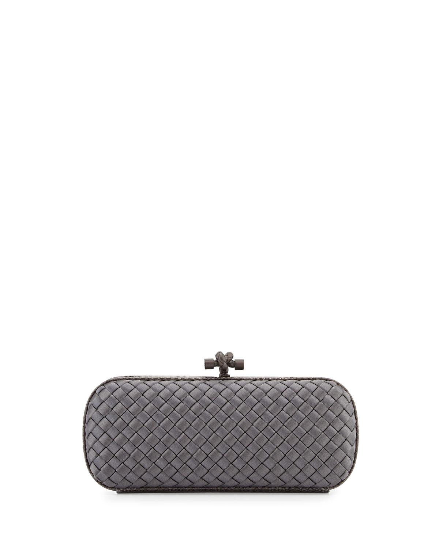 bottega veneta satin elongated knot clutch bag in gray new light gray lyst. Black Bedroom Furniture Sets. Home Design Ideas