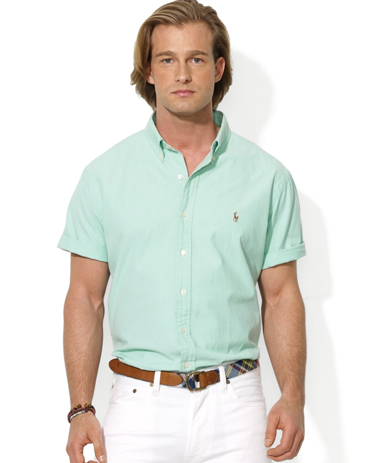 Ralph lauren polo short sleeve chambray sport shirt custom for Mint color polo shirt