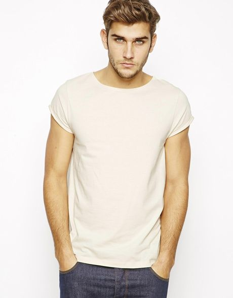 Asos T Shirt With Boat Neck And Rolled Sleeve In White For