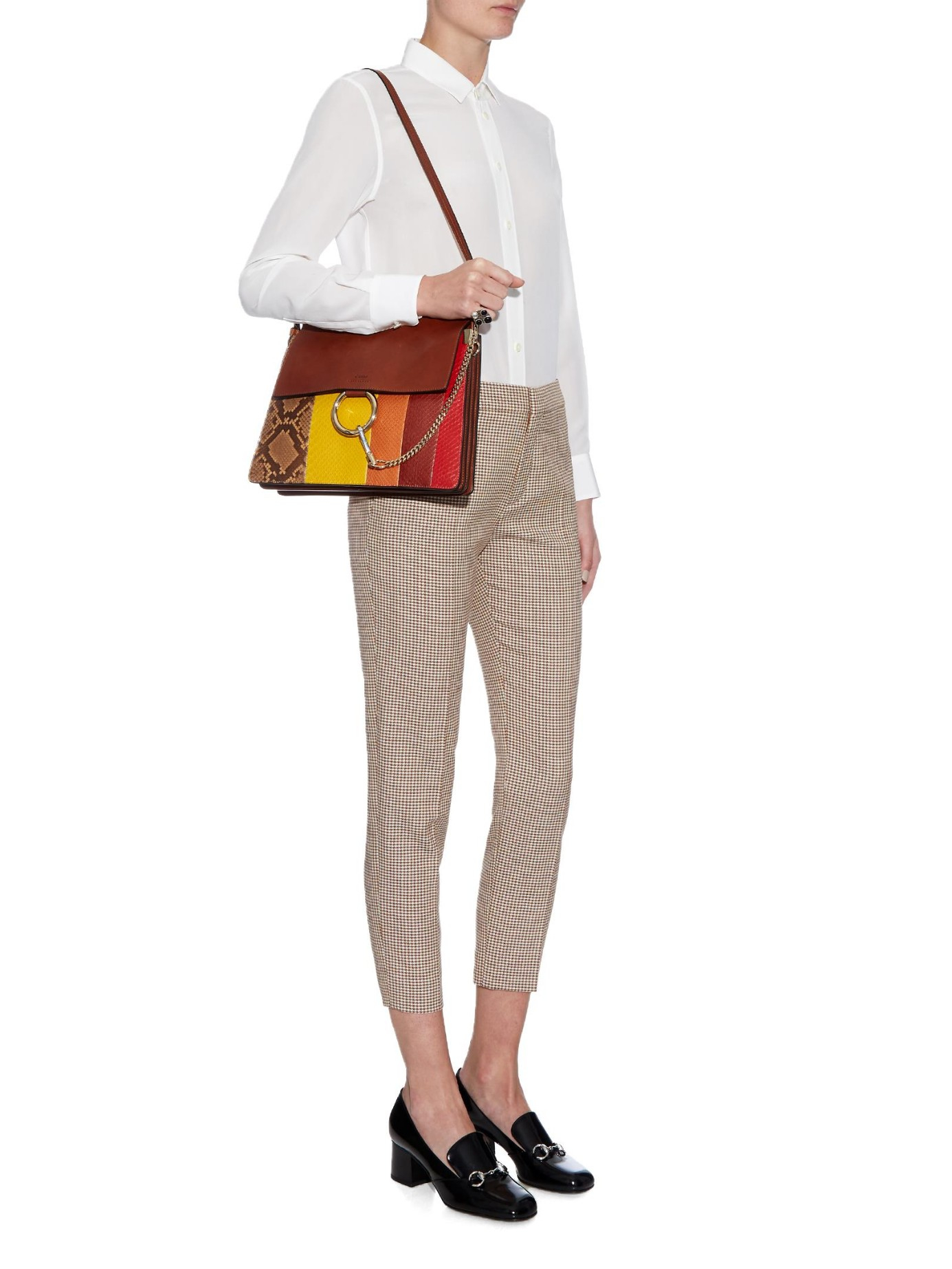 Chlo�� Faye Python And Leather Shoulder Bag in Brown (TAN MULTI) | Lyst