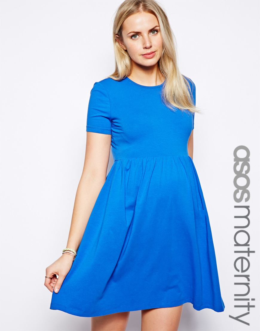 713816fd254b ASOS Skater Dress with Slash Neck and Short Sleeves in Blue - Lyst