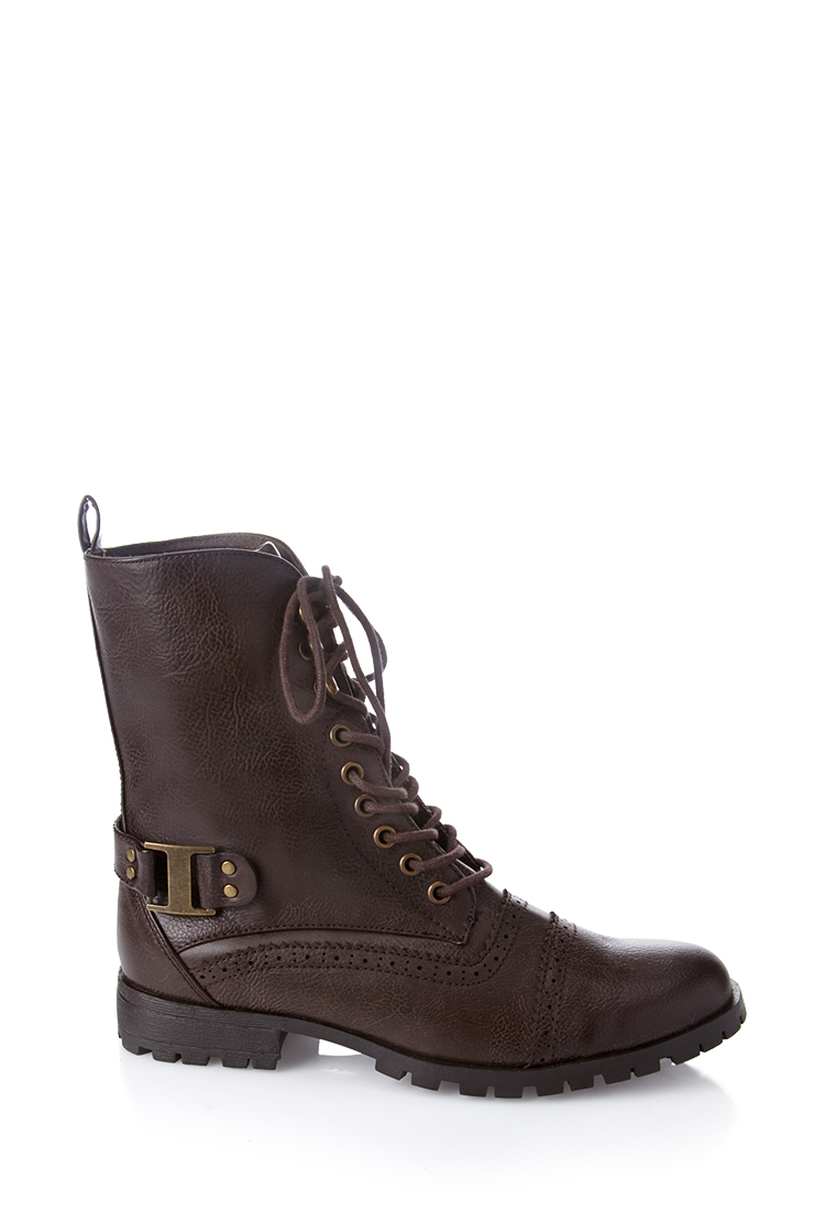 forever 21 laceup combat boots in brown lyst