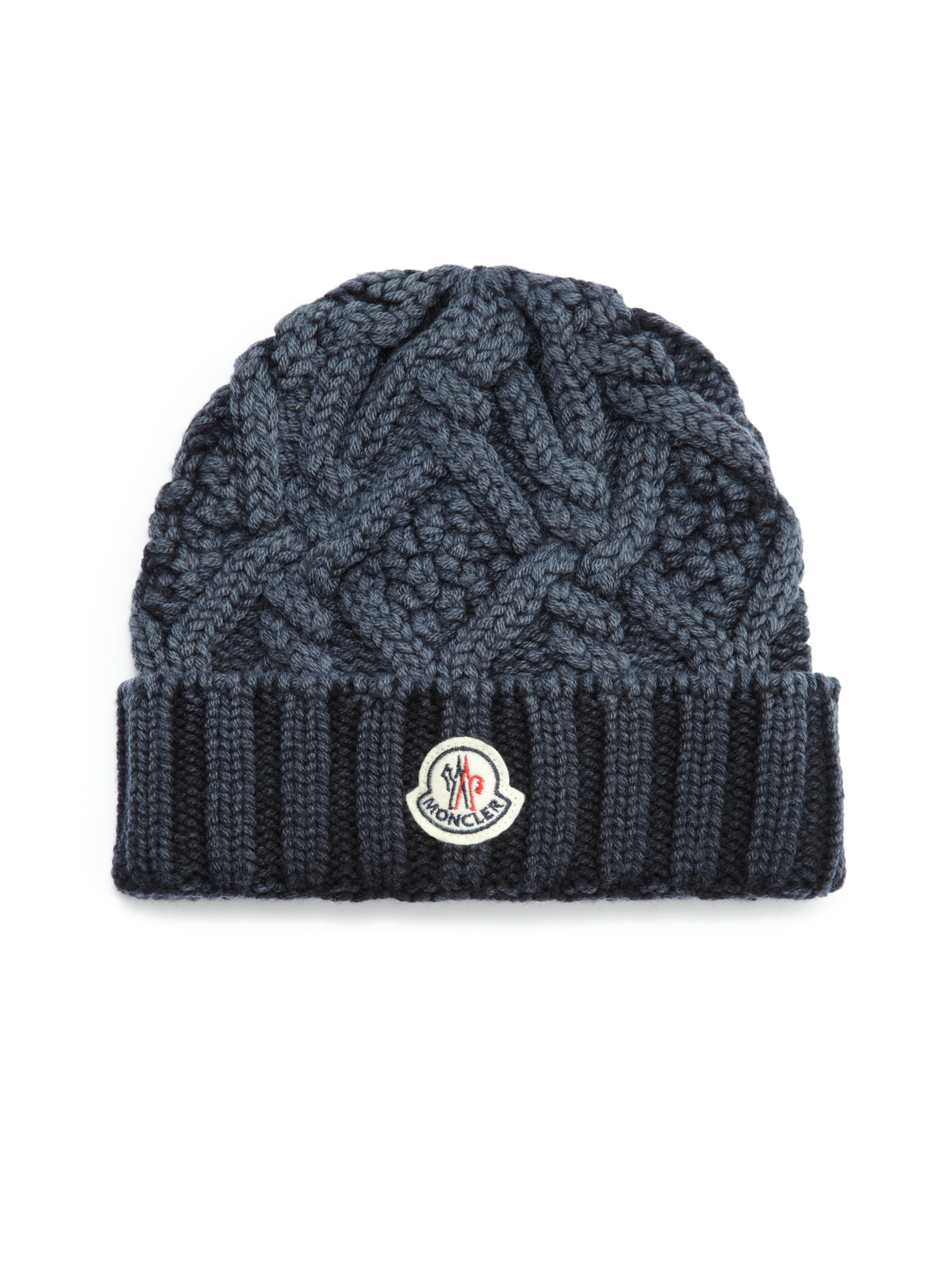 fc01ddb350c Lyst - Moncler Cable-Knit Wool Hat in Blue for Men