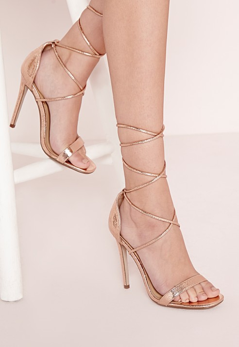 Missguided Lace Up Barely There Heeled Sandals Rose Gold in Pink