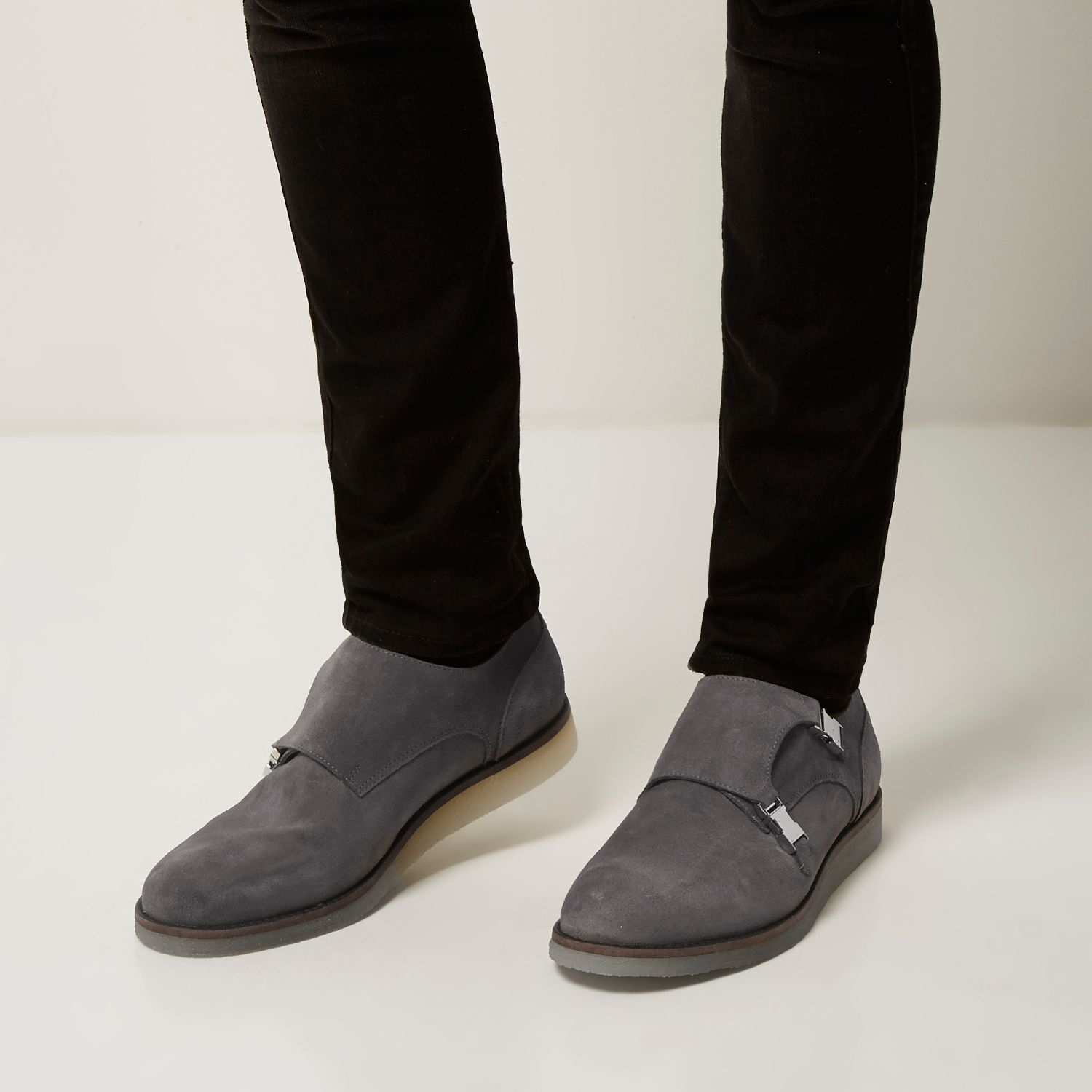 River Island Grey Suede Monk Strap Shoes In Gray For Men