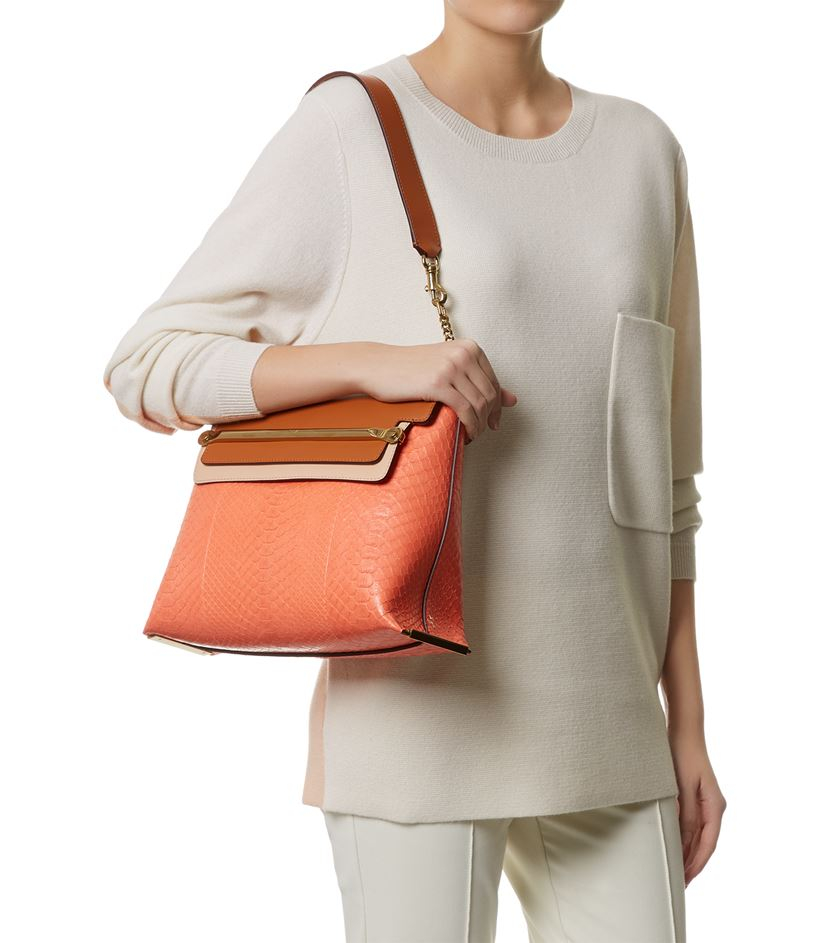 Chlo¨¦ Medium Clare Python Shoulder Bag in Pink | Lyst