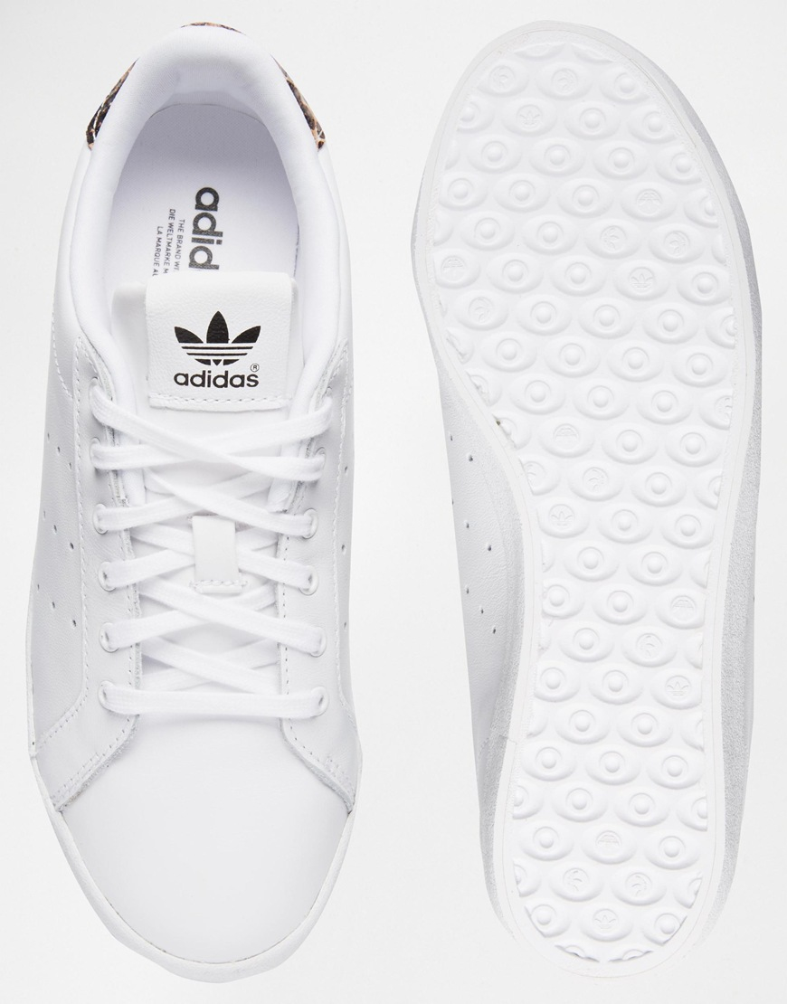 35f360814 ... official store lyst adidas originals white miss stan with leopard print  back d0ee2 28b23