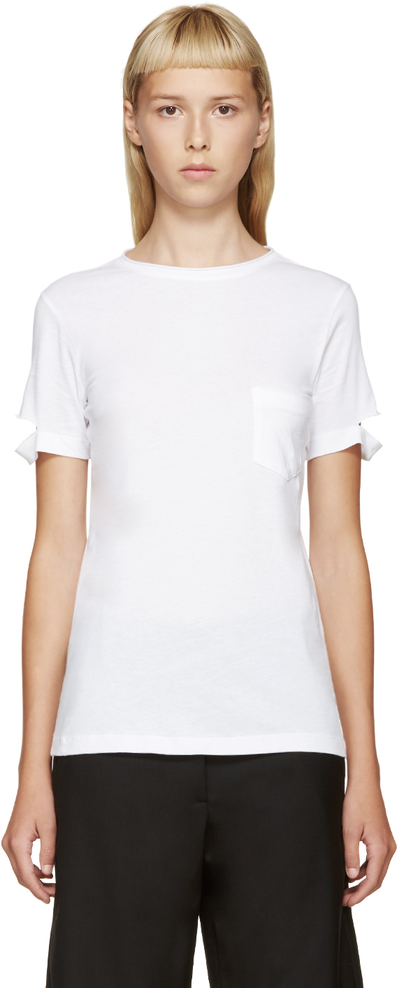 helmut lang white slit sleeve t shirt in white lyst. Black Bedroom Furniture Sets. Home Design Ideas