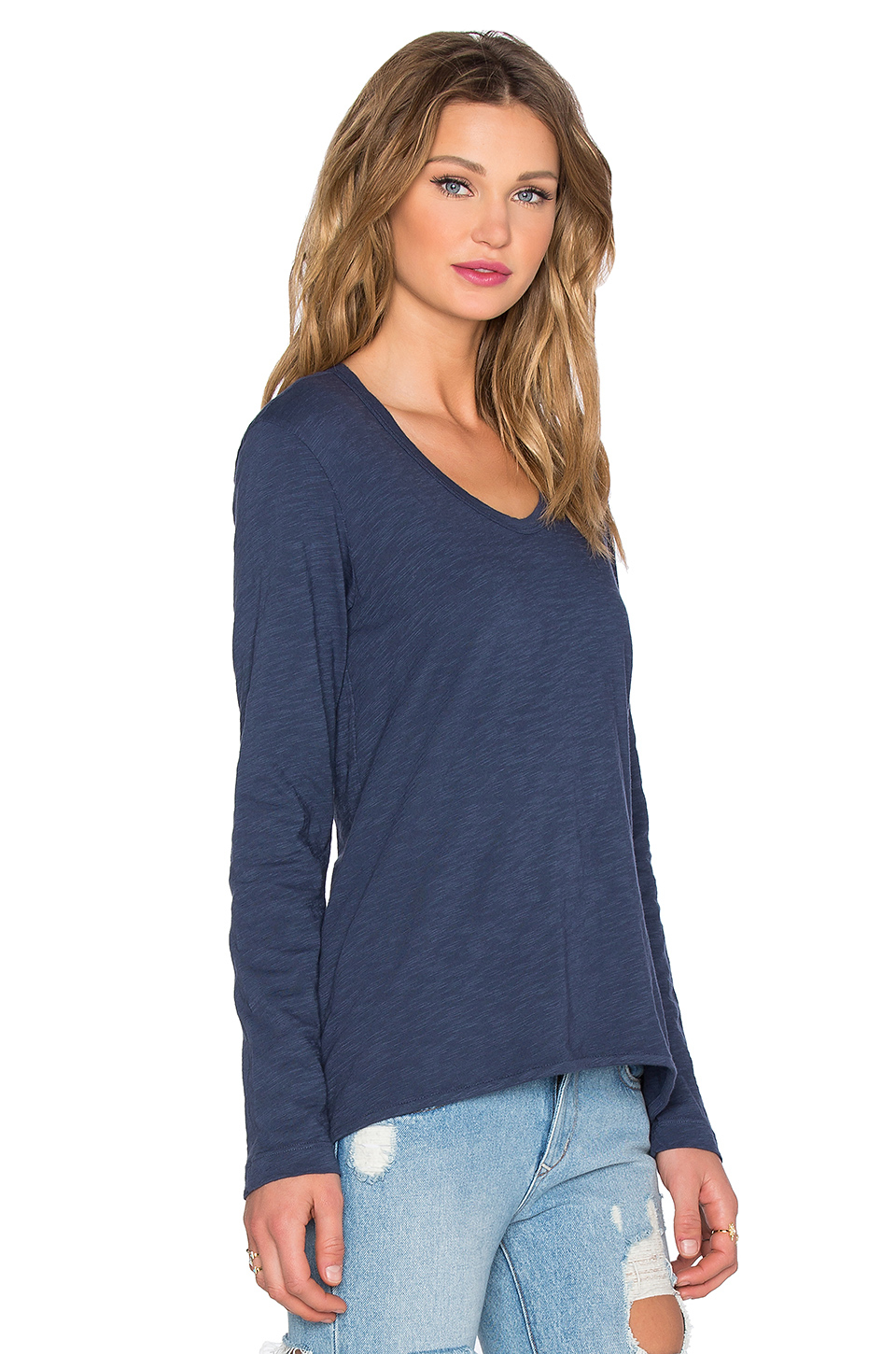 6bf90875fd7b69 Wilt Slub Long Sleeve Shrunken Boyfriend Tee in Blue - Lyst