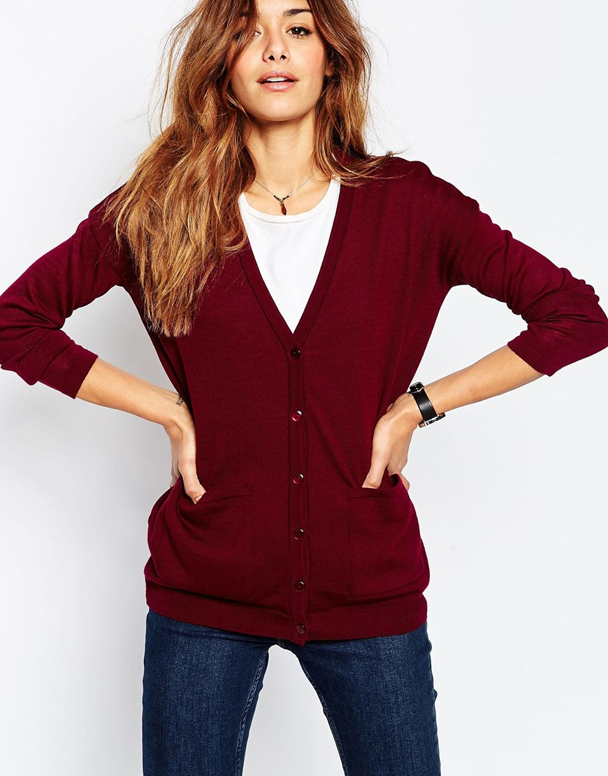 Asos Oversized Cardigan In Fine Knit in Red | Lyst