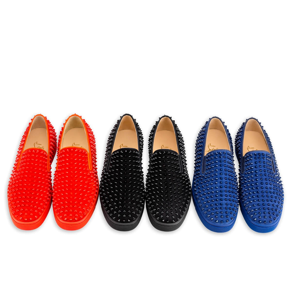 christian louboutin studded roller boat loafers