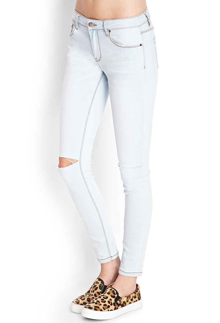 Gallery - Forever 21 Ripped Denim Skinny Jeans In Blue Lyst