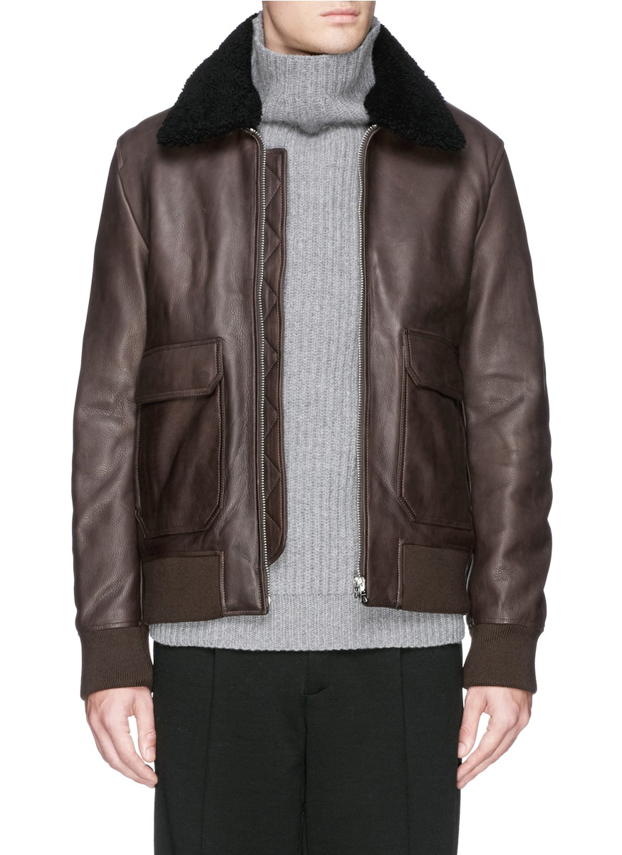 Studios Men Leather In Brown Shearling Acne Jacket 'abel' Lyst For SwZ5aq5