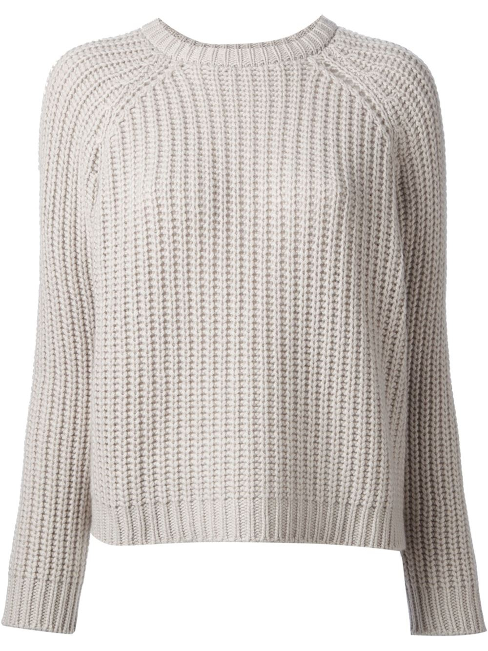 Brunello cucinelli Thick Knit Sweater in Gray | Lyst