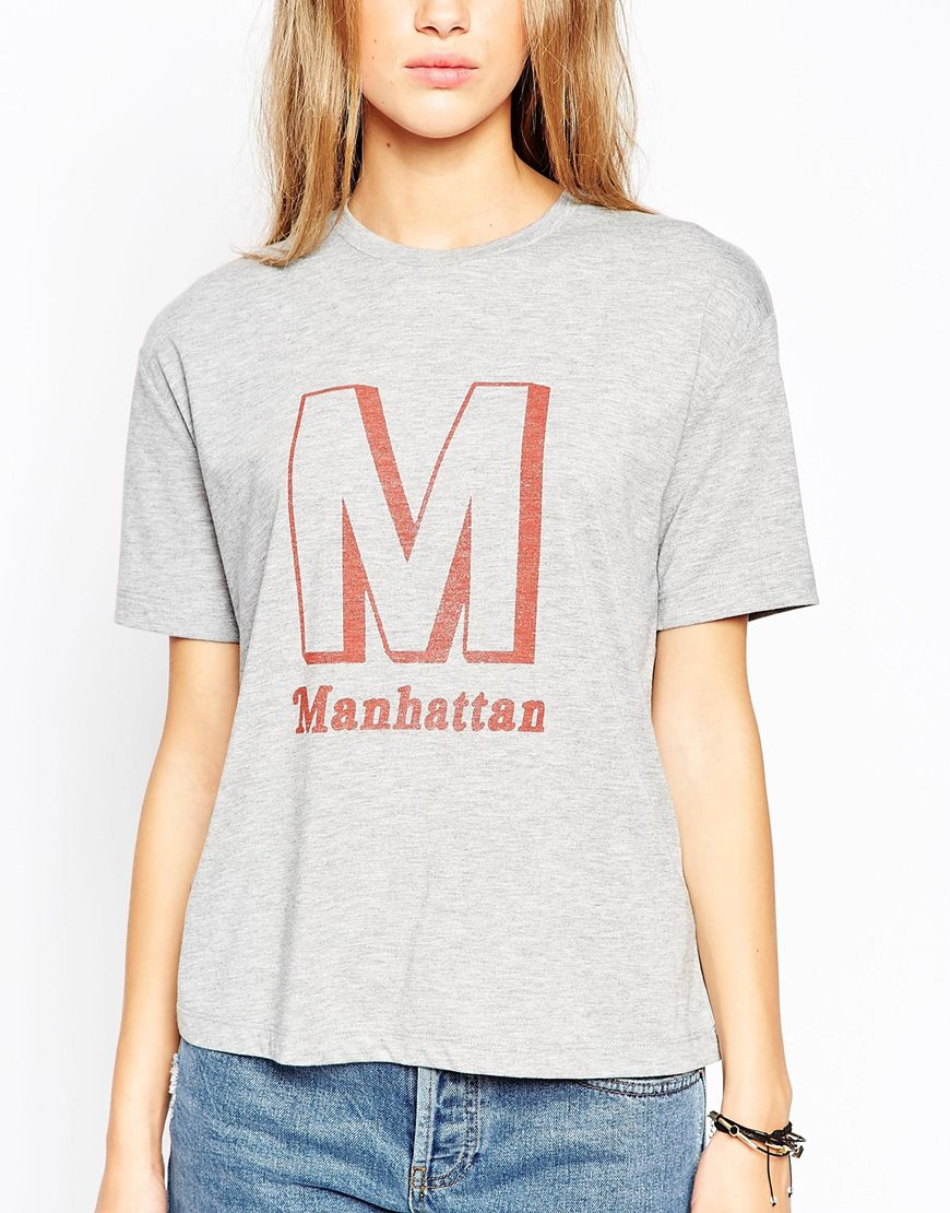 Lyst Asos T Shirt With Manhattan Print In Gray
