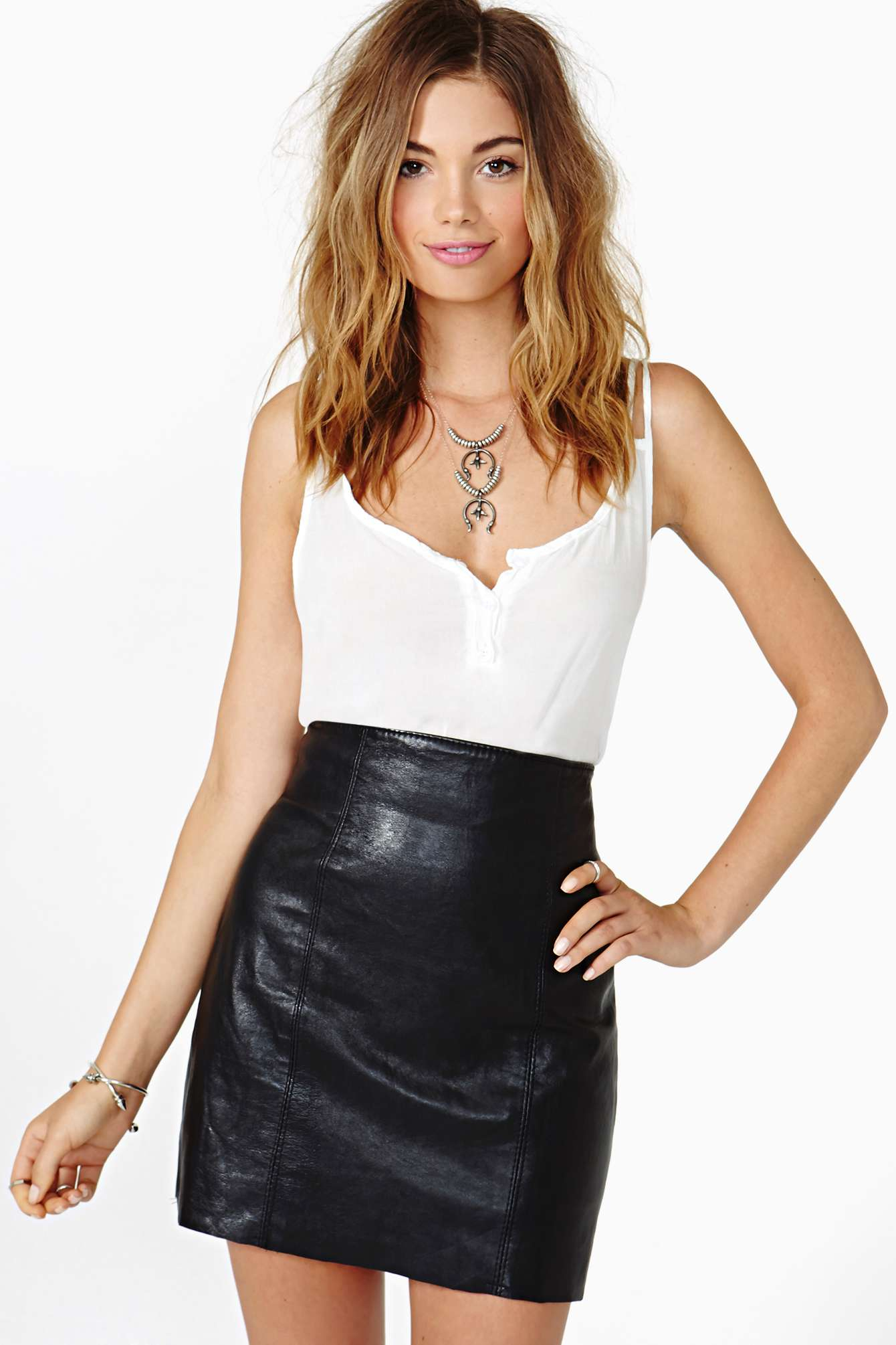 Nasty gal After Party Vintage Night Ride Leather Skirt in Black | Lyst