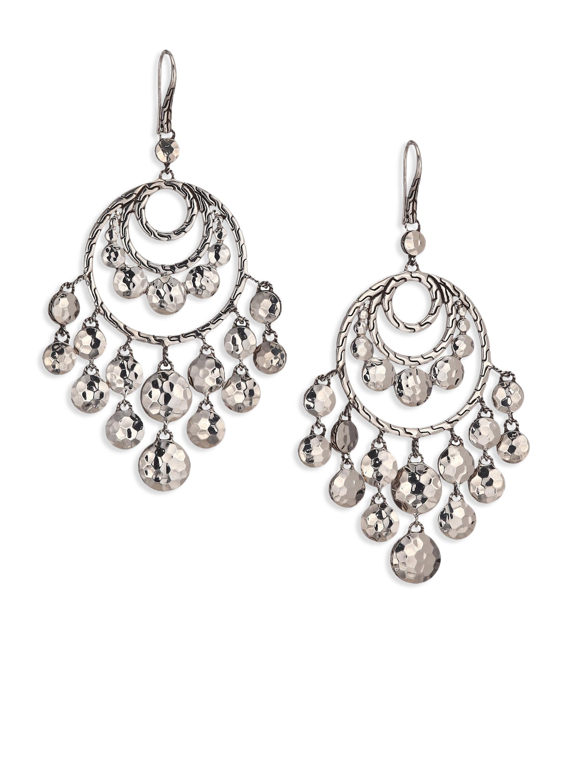 John hardy palu sterling silver disc chandelier earrings for John hardy jewelry earrings