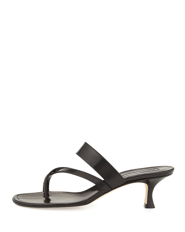 7d1ddd92dd9 Lyst - Manolo Blahnik Susa Low-heel Thong Slide Sandal in Black