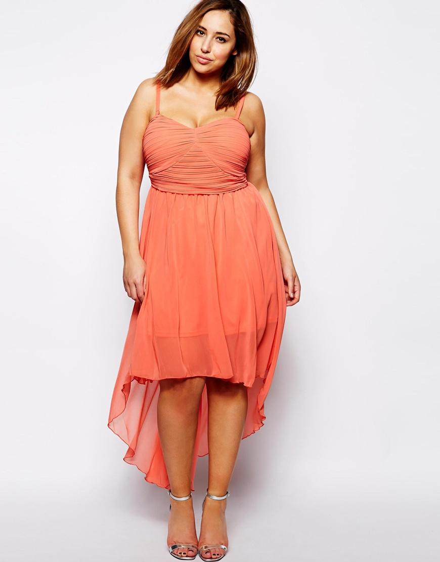 ax paris plus size plain chiffon drop back dress in red | lyst
