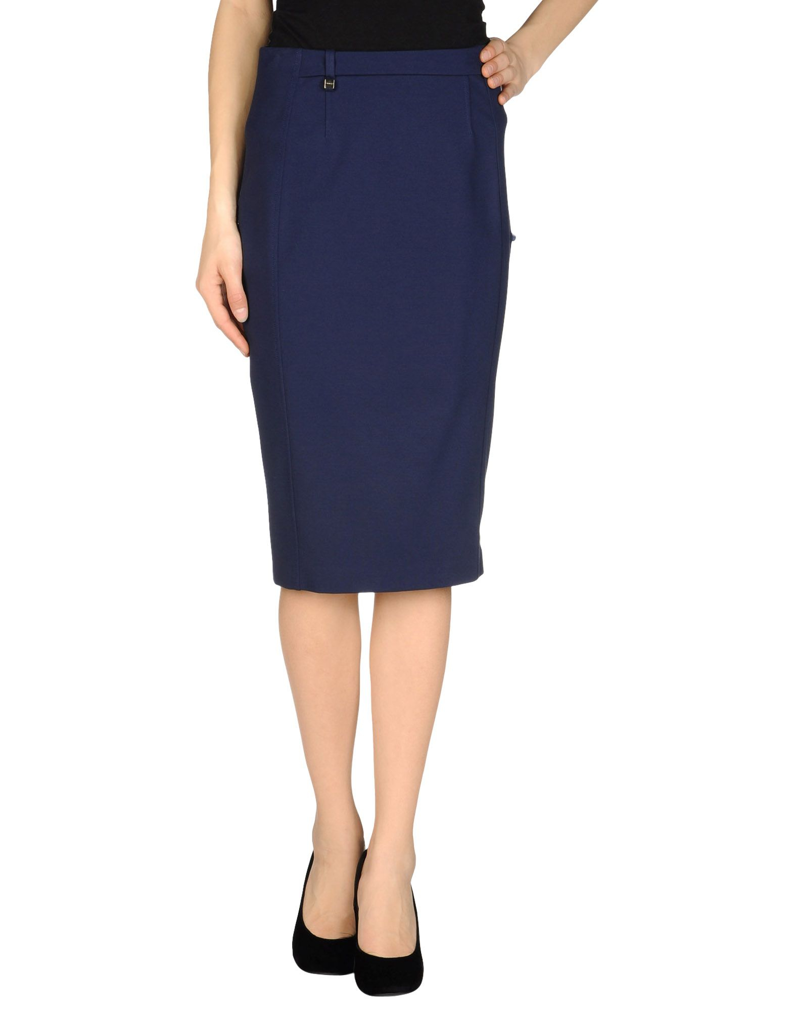 pinko knee length skirt in blue blue save 35 lyst