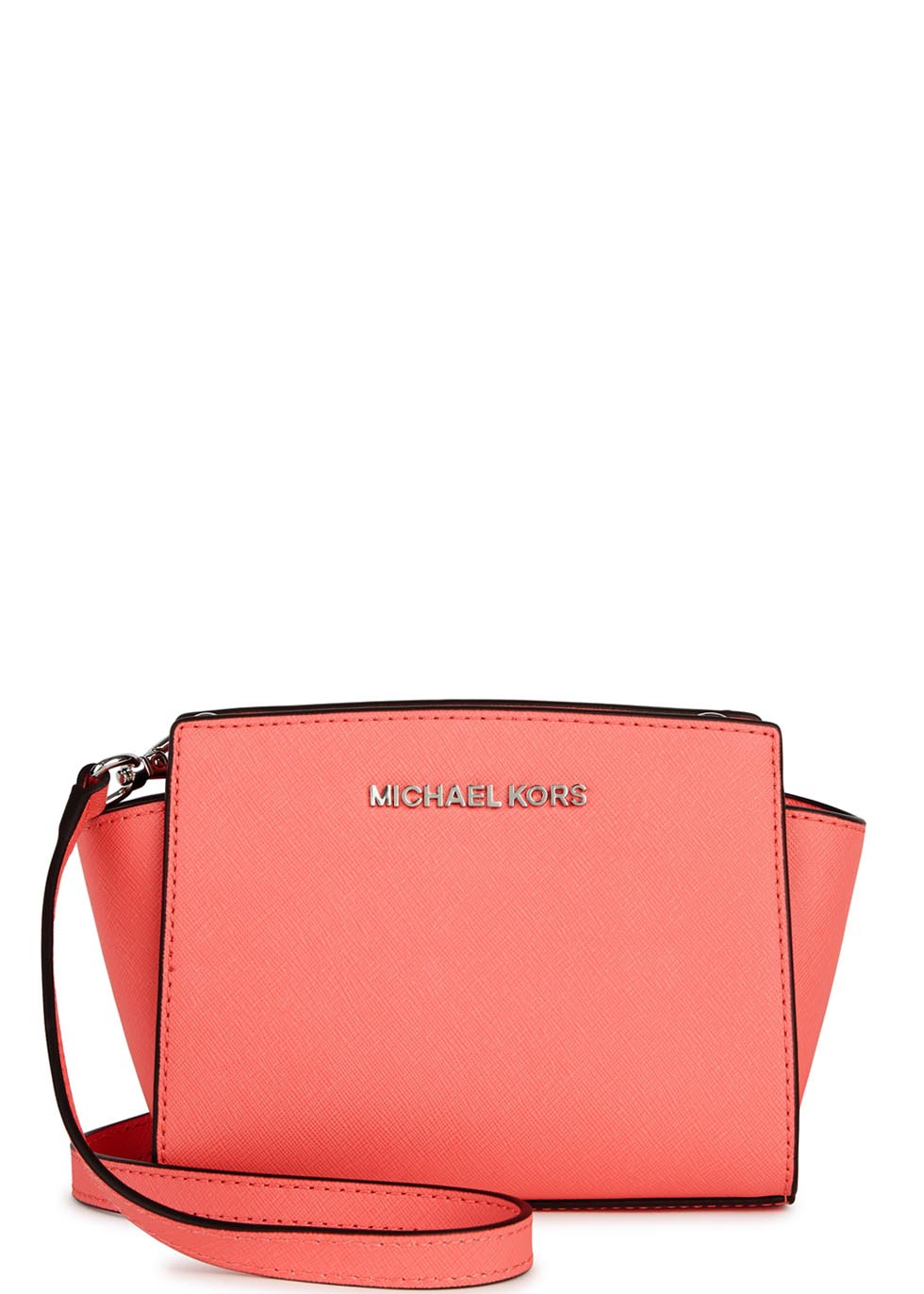 michael kors selma mini coral leather cross body bag in pink lyst. Black Bedroom Furniture Sets. Home Design Ideas